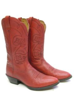 WOMENS ARIAT RED LEATHER FLOWERS COWBOY WESTERN BOOTS SZ 8 B 8B