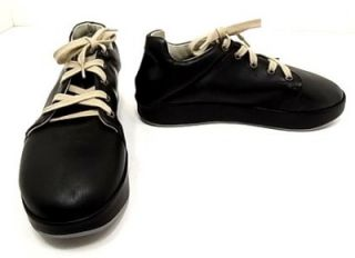 nib fausto santini italy black leather sneaker 38 5 8