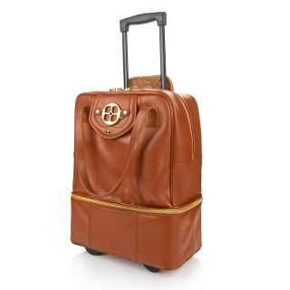 205 846 iman roll into luxury genuine leather wheeled carryall rating