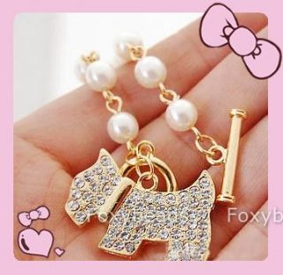 New White Faux Pearl Golden Plated Dog Crystal Chain Charm Bracelet