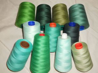 Serger Quilting Sewing Cone Thread Greens 6000 Yards