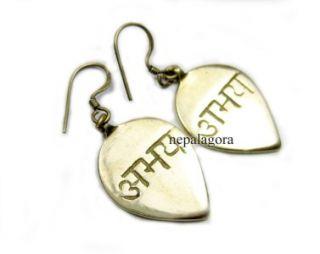 E91 Abhaya Fearless Hindu Saskrit Handmade Tibetan Silver Earrings