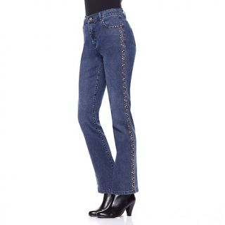 212 644 diane gilman jewel and stud embellished seam boot cut jeans