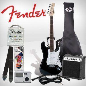 Fender Starcaster Black Strat Electric Guitar Pack Set Amp   Complete