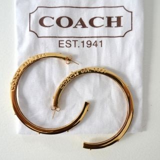 Coach Polished Gold Extra Large Dark Red Hoop Earrings