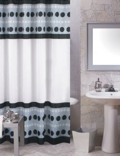 Metro Black Extra Long Printed Fabric Shower Curtain 70x72