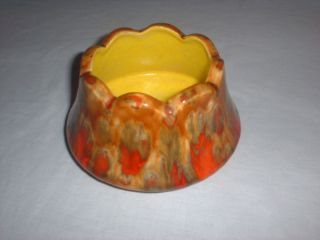 Vintage Art Pottery Planter Drip Glaze Orange Yellow Green