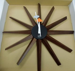 Retro Seventies Look Wall Clock with 12 Wooden Spikes