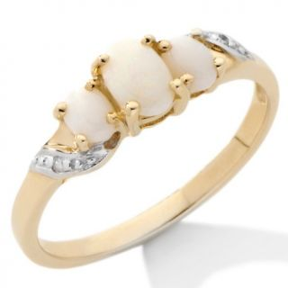 Jewelry Rings Gemstone 10K Gold 3 Stone Opal Ring with Diamond