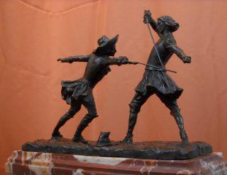 Cavaliers Fencing Duel Bronze Statue Sculpture Edouard Drouot Office