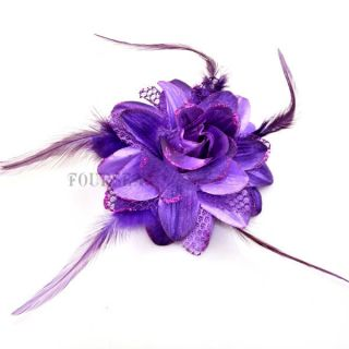 Korean Elegant Rose Feather Fabric Flower Brooch Pin