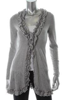 Inc New Botanica Gray Long Sleeve Pointelle Ruffled Cozy Cardigan