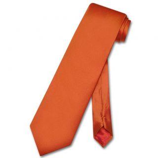 Silk Necktie Extra Long Solid Burnt Orange Mens XL Neck Tie