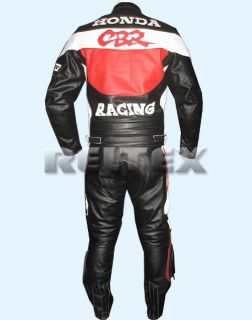Red Black Fireblade CBR Racing HRC Leather Motorcycle Biker Jacket