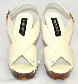 Fahrenheit Rai White Wedge Sandal Woman Shoes Sz 8 5