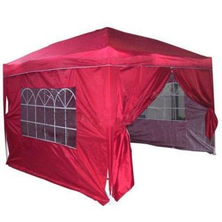 10x10 EZ Set Pop Up Party Tent Canopy Gazebo Red With Free Carry Bag