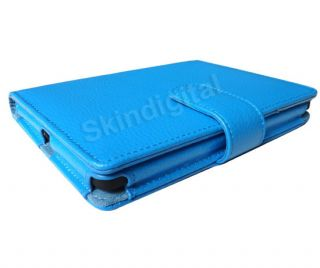For Kobo Touch eReader Sky Blue Genuine Leather Case Cover