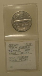 1930 F 3 Mark SILVER German Graf Zeppelin Weimar Republic 3rd Reich
