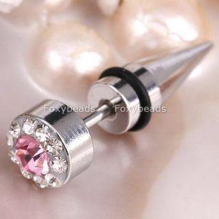 Pink Stainless Steel Fake Piercing Taper Earring Stud