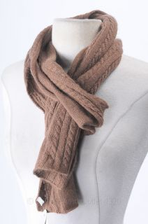 Portolano Brown Cashmere Cable Knit Scarf Winter Soft Lightweight