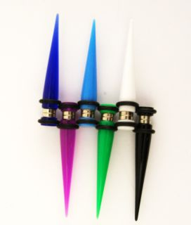 Punk Goth Fake Cheater Illusion UV Gauge Magnetic Post Plugs Tapers