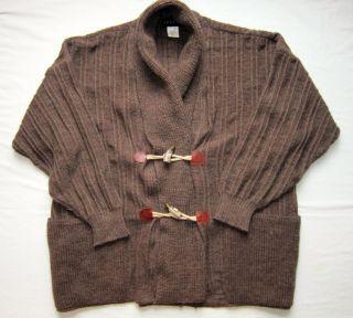 Falke Mens Wool Alpaca Shawl Toggle Cardigan Brown Size L Large 50