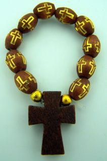 Womens 2 1 4 Round Brown Oval Wood Bead Tau Cross Finger Rosary Ring
