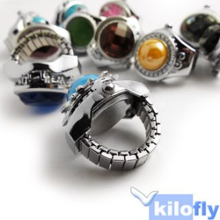 Mini Lady Girl Fashion Gem Jelwelry Ring Finger Watch