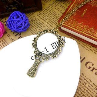 Style Vintage Bronze Fashion Lace Face Mirror Pendant Necklace Size