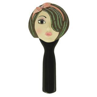 Hand Mirror Awake Face Brunette Pink Headband Makeup