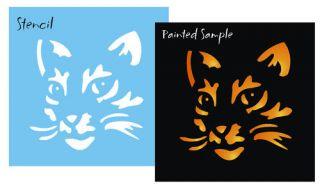 Stencil 2 5 Kitty Cat Pumpkin Face Halloween Wicca Witch Sign Art