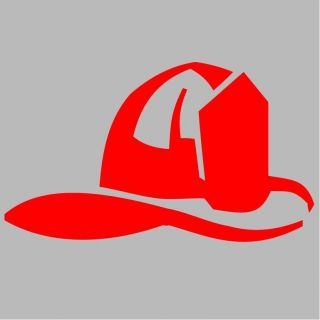 Fire Fighter Helmet Wall Car Auto Decal Sticker Vinyl Graphic Red 4 5