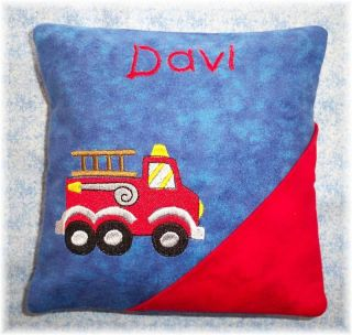 Personalized Boys Tooth Fairy Pillow Fire Truck Design
