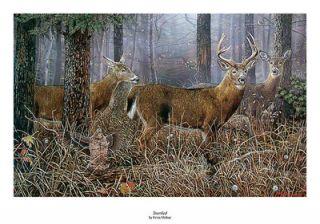 Ervin Molnar Buck Deer Grouse Print STARTLED Signed and Numbered