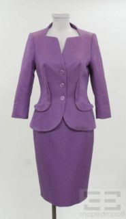 Escada Black Label 2pc Purple Cotton & Silk Jacket & Skirt Suit Size