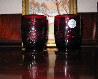 PRINCESS HOUSE RUBY RED FANTASIA VOTIVE/TEA LIGHT HOLDERS   SET OF 2