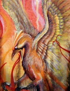 Fantasy Art Mythical Bird Phoenix Rising Print Gorgeous Feathers and
