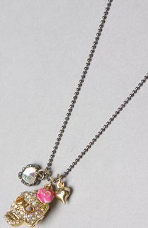 Betsey Johnson The Skull Crystal Charm Necklace