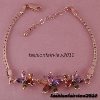 New 18K Rose Gold GP Colorful Swarovski Crystal Three Flower Bracelet