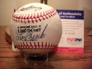 Lou Brock signed Rawling baseball commemorating 3000 hits, PSA/DNA
