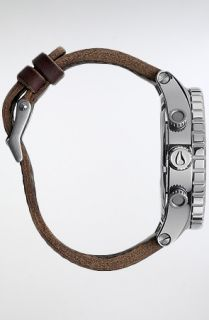 nixon the 51 30 chrono leather watch in silver brown this product is