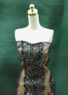 Elegant FAITH HILL Strapless Black Lace Overlay Evening Gown SILKSTONE