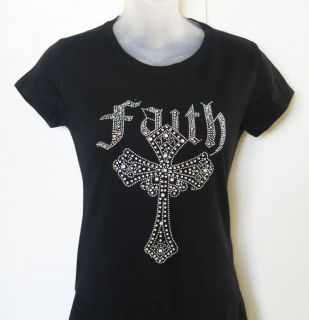 Rhinestone Iron on Faith Cross Black T Shirt Shirt Women New