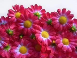 12X Pink Gerbera Daisy Head Artificial Silk Flower Wedding Lot Clip