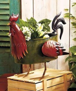 ROOSTER METAL FARM ANIMAL FLOWER POT PLANTER LAWN GARDEN YARD OUTDOOR