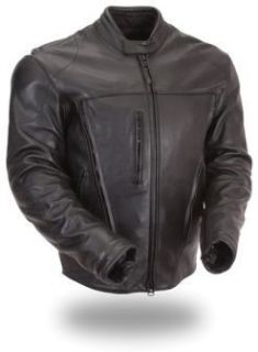 First Classic Mens Leather Motorcycle Riding Jacket XXL