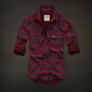 Red Turquoise Blue Plaid Button Down Shirt Top Fallbrook M $49