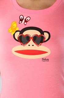 Paul Frank The Heart Glass Crew Tee in Neon Pink
