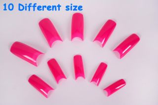 False Nail Tips 500pcs 10 Different Sizes Hot Pink French Acrylic UV