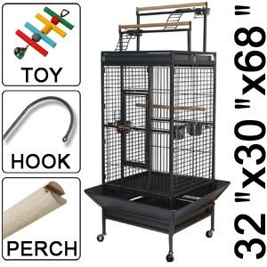 Parrot Bird Finch Cages Play Top Storey Ladder Black Vein Iron Cage